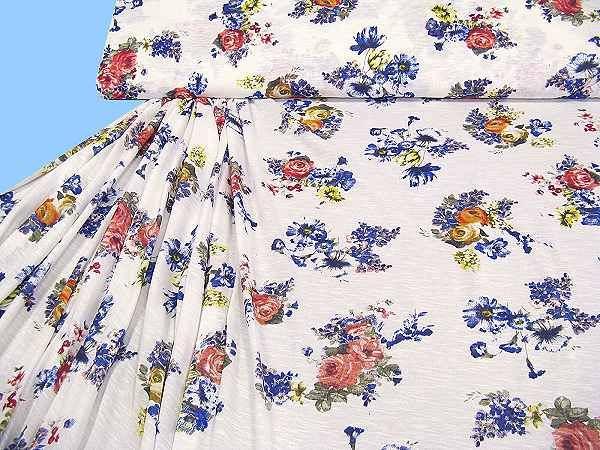 Baumwolljersey mit Blumenmuster - wollweiss/gelb/orange/lachs/rot/dunkelblau/khaki