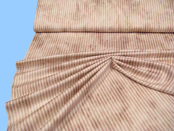 Baumwollsatin mit Batik und Streifen - hellbraun/braun
