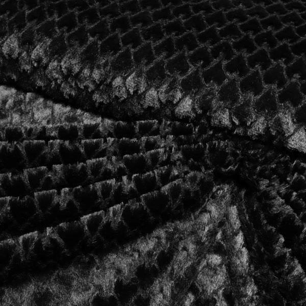 Microfaser Plüsch mit Schuppen-Muster - schwarz