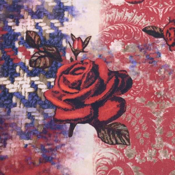 Crêpe rote Rosen - marineblau/rot/dunkelblau/braun/beige (2.Wahl)