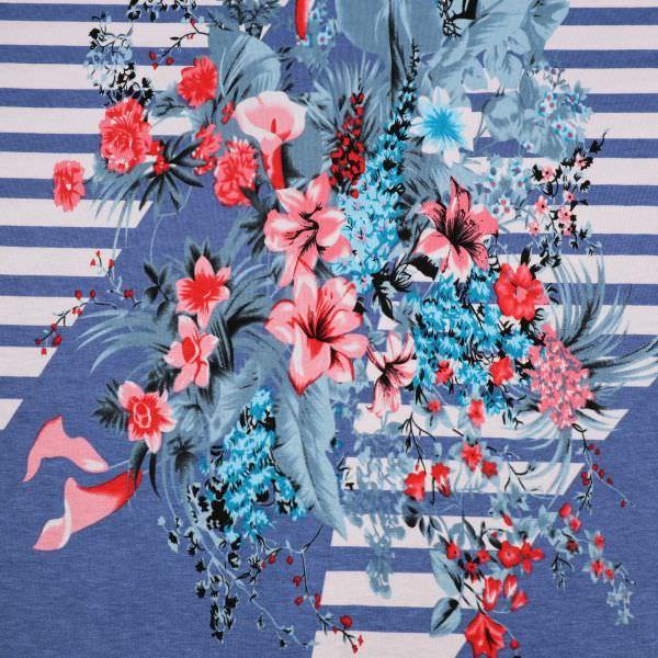 Viskosejersey Blumen & Streifen PANEL - weiss/blau/rot/koralle/türkis