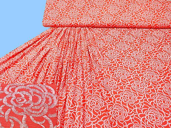 Viskosejersey mit Blumen-Motiv - koralle/weiss