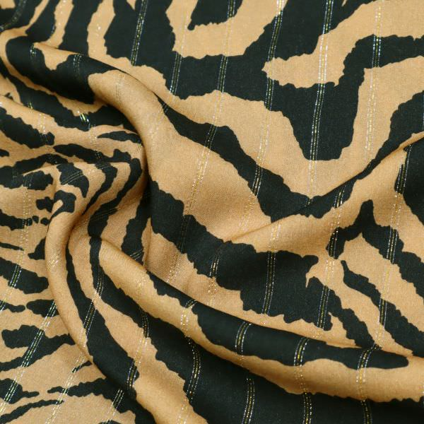 Viskosestoff mit Tiger-Muster & Lurexstreifen - camelbraun/schwarz/gold/silber