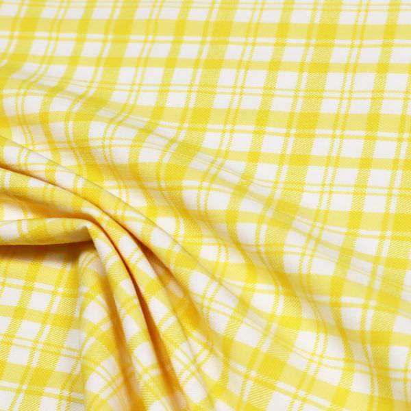 Stretch Baumwollstoff Karo - gelb/weiss