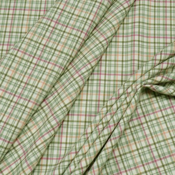 Stretch Hosen- und Kostümstoff Karo - wollweiss/schilfgrün/fuchsia