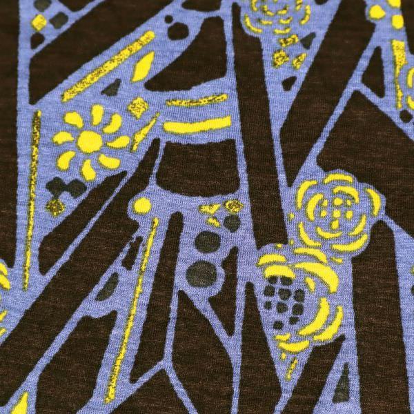 Viskosejersey mit Retro-Motiv - braun/lila/gelb