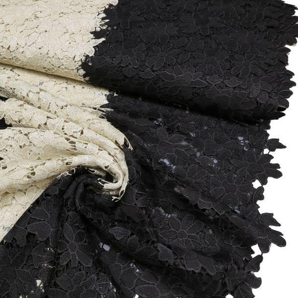 Lurex Spitze mit Blumen-Motiv - schwarz/goldbeige