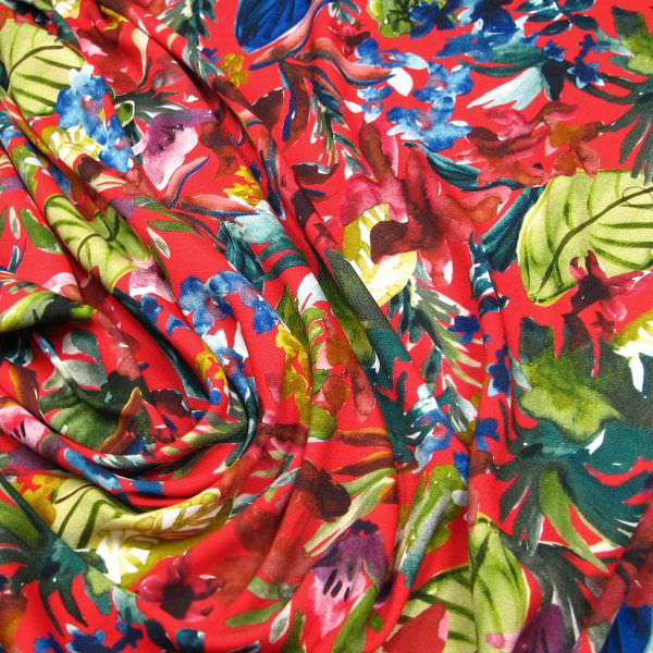Viskose Crêpe Georgette Aquarell Blumen - rot/grün/blau/brombeere/weinrot