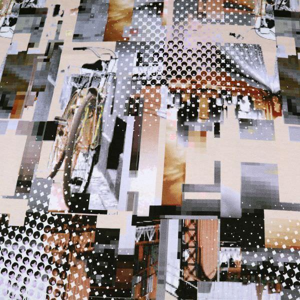 Sweatshirt Stoff mit futuristischem Muster - wollweiss/beige/grau/braun/schwarz