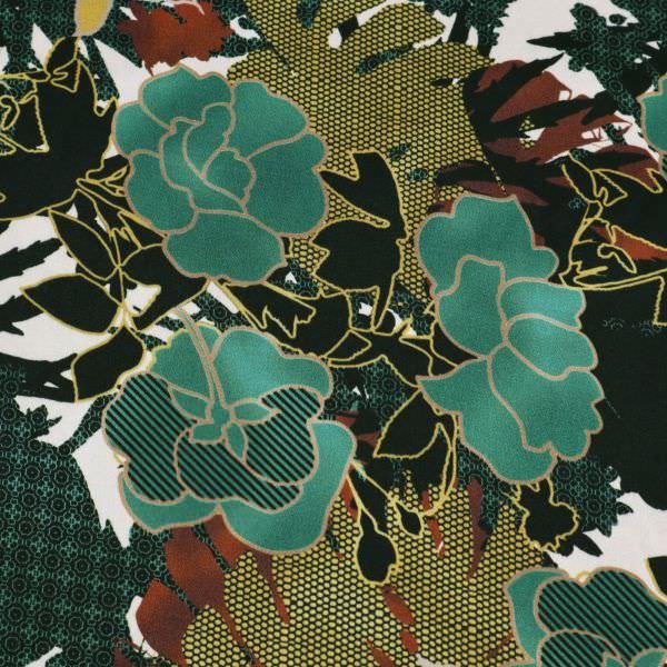 Javanaise Viskose Satin Blumen & Muster-Mix - wollweiss/dunkelgrün/senfgelb