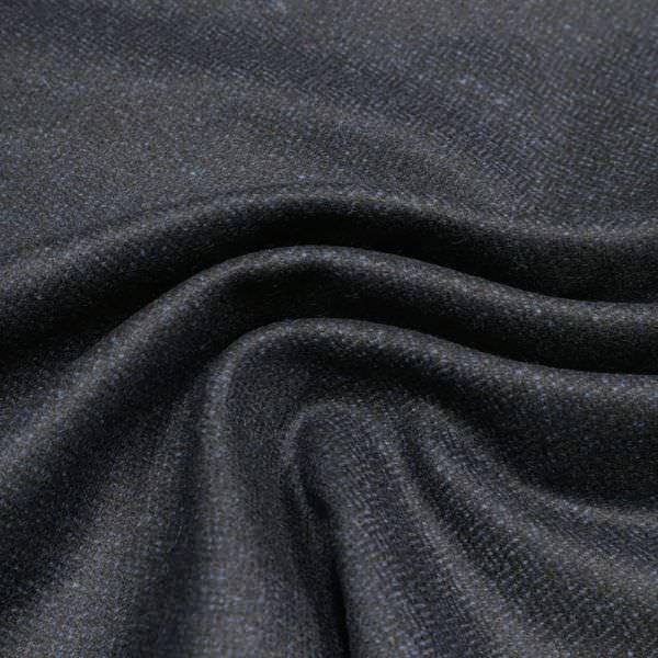 Wollstoff-Mix Melange & feine Musterung - schwarz/dunkelblau