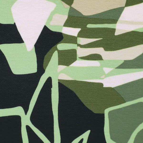 """Baumwolljersey """"Futuristisches Muster""""- hellgrün/beige/olivgrün/schwarz/wollweiss"""
